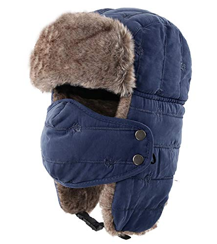 (Connectyle Warm Trapper Hat Windproof Winter Russian Hats with Mask Ushanka Hat (Navy Blue) )