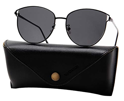 Oversized Sunglasses for Women, Mirrored Cat Eye Sunglasses with Rimless Design U225 (Blk-Blk)