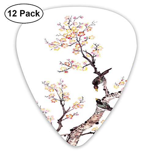 (Guitar Picks 12-Pack,Traditional Chinese Paint Of Flowers Plum Blossom Birds On Tree Romance Print)