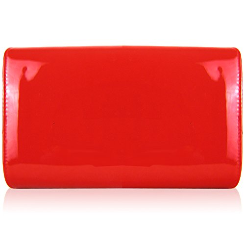 Clutch Medium Evening Envelope Leather London Gloss Ladies Red Prom Bags Patent Xardi Women Party xS5fttwR