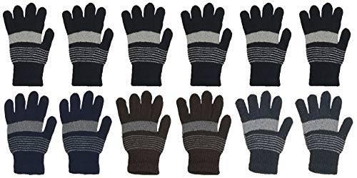 Winter Magic Gloves, 12 Pairs Unisex, Stretchy Warm Knit Bulk Pack One Size Mens Womens, Wholesale (12 Pairs Assorted Knit)