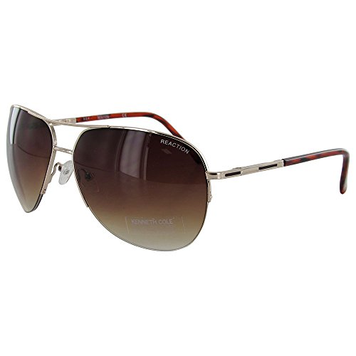 Kenneth Cole Reaction Half Rimless Aviator Sunglasses, Gold/Brown - Brown Gradient Sunglasses