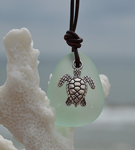Silver Sea Turtle Necklace - NUMBER ONE SELLING Sea Turtle Leather Necklace for NAUTICAL SEA GLASS, Leather Sea Glass Necklace, Sea Glass Jewelry, Sea Foam Mint Leather Necklace, Christmas gifts for her, Unisex Necklace