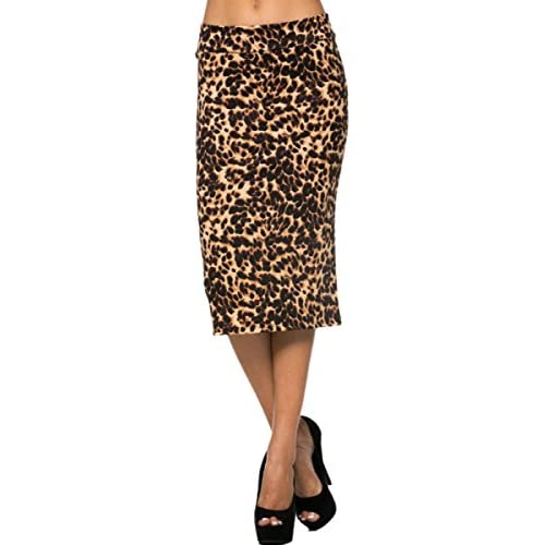 Discount 2LUV Women's Solid & Multicolor Print High Waisted Pencil Skirt for cheap