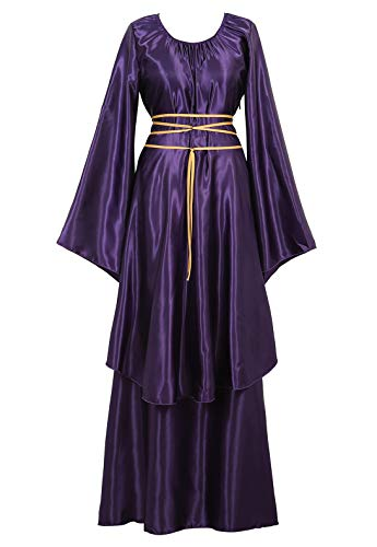 Famajia Womens Halloween Role Cosplay Dress Deluxe Medieval Renaissance Irish Over Victorian Retro Gown Costumes Purple Small (Queen Mardi Gras)