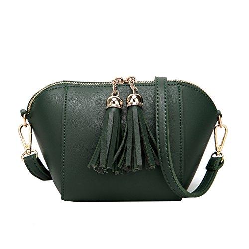 Crossbody Tassel Fringe Women Bag Shell Bag Double Zipper Messenger Girls Ladies Shoulder Bags Republe Green
