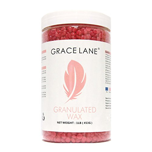 Hard Wax Beans by Grace Lane | Hair Removal Hot Paraffin Waxing 1 Pound (Rose)