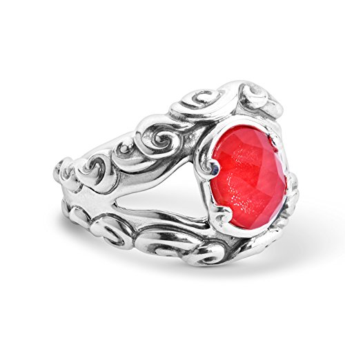 Carolyn Pollack Sterling Silver Red Coral Gemstone Split Band Ring Size 8