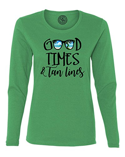 Good Times Tan Lines Sunglasses Beach Womens Long Sleeve T Shirt Kelly Green - Kelly R Sunglasses
