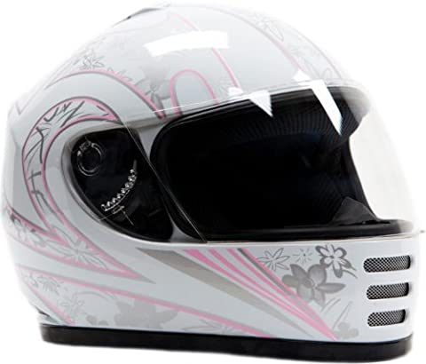 Youth Full Face Helmet White Pink ( XL ) - White Full Face Helmet
