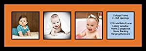 Art to Frames Double-Multimat-1573-712/89-FRBW26079 Collage Photo Frame Double Mat with 4 - 8x8 Openings and Satin Black Frame