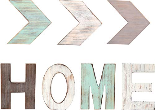 Rustic Wood HOME & Three ARROW Décor Signs Home Décor |Freestanding Wooden Letters Cutouts for Home Décor| Multi-Color Wooden Signs | Decorative Word Signs | for Kitchen Shelf, Farmhouse Décor, Living (Wall Home Letters)