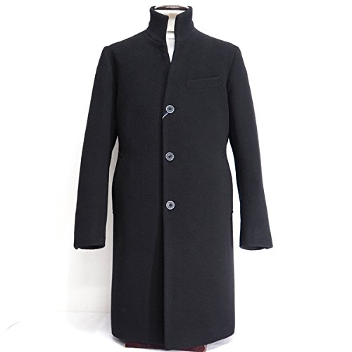 40785 秋冬 日本製 ウール100% ステンカラー ロングコート ブラック(黒) サイズ LL LONNER/LEOLUIS ロンナー 紳士服 メンズ 男性用