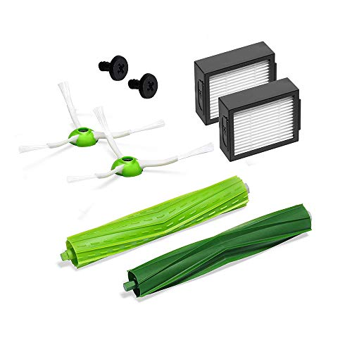 for iRobot Roomba i Series Robotic Vacuum Replenishment Kit Green Roomba i7 and i7+ Replenishment Kit (2 High-Efficiency Filters, 2 Edge-Sweeping Brushes, and 1 Set of Multi-Surface Rubber Brushes)