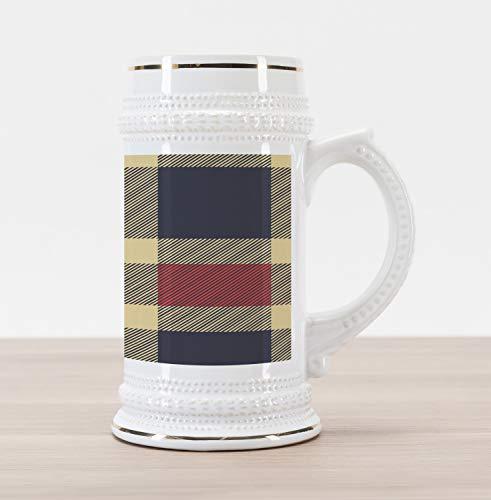 Stein Retro Ceramic - Ambesonne Checkered Beer Stein Mug, Vintage Plaid Scottish Tartan Pattern with Retro Display Checks Lines, Traditional Style Decorative Printed Ceramic Large Beer Mug Stein, Dark Blue Coral Cream