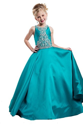 GreenBloom Crystal Girls' Pageant Ball Gowns Dress 14 US Green