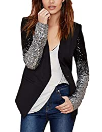 Sopliagon Womens Blazer Casual Lapel OL Slim Fit One Button Sequin Jacket