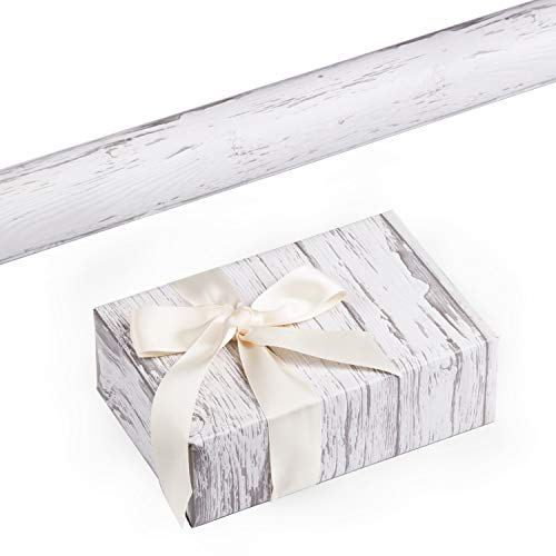 RUSPEPA Gift Wrapping Paper Roll - White Woodgrain Design for Wedding,Birthday, Shower, Congrats, and Holiday Gifts-30Inch X 32.8Feet -