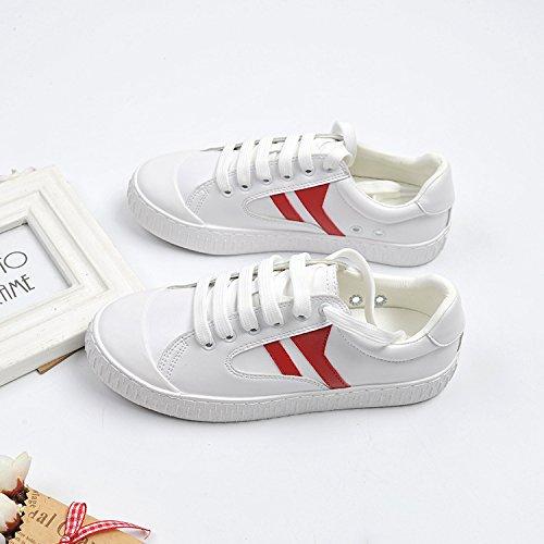 fondo Testa rosso 40 piatto donna testa scarpe comodo casual e piatta a rotonda di semplice scarpe white un tie scarpe versatile femmina w7fwFpx