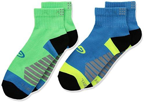 2 Pack Ankle Socks - Champion Big Boys' Reflective Ankle Sock 2-Pack, Extreme Green/Vintage Aqua, Large