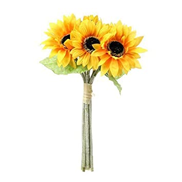6 Flower Stems by Permabloom Artificial 41cm Sunflower Bundle