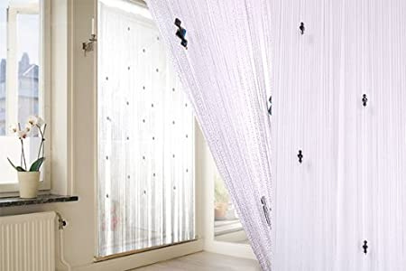 New Sparkle White Beaded Fly Insect Door Curtain Screen 100 X