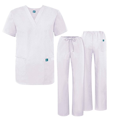 Adar Universal Medical Scrubs Set Medical Uniforms - Unisex Fit - 701 - WHT -2X (Everything Halloween White Plains)