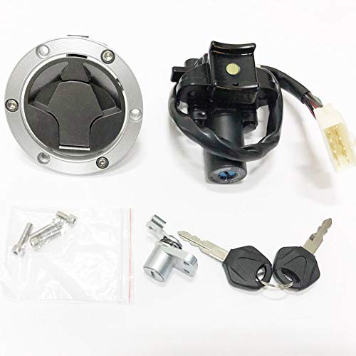 Ignition Switch Lock Gas Cap Cover Set For Kawasaki Ninja 250R EX250J 2008-2012