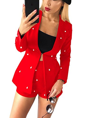 2 Jacket Club (LKOUS Women Summer 2 Piece Outfit Long Sleeve Jacket Blazer Suit Cover up and Bodycon High Waisted Short Pants Clubwear)