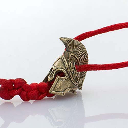 Brass Spartan Helmet - Handmade Paracord Beads and Charms - Custom EDC Paracord Knife Lanyard Bead