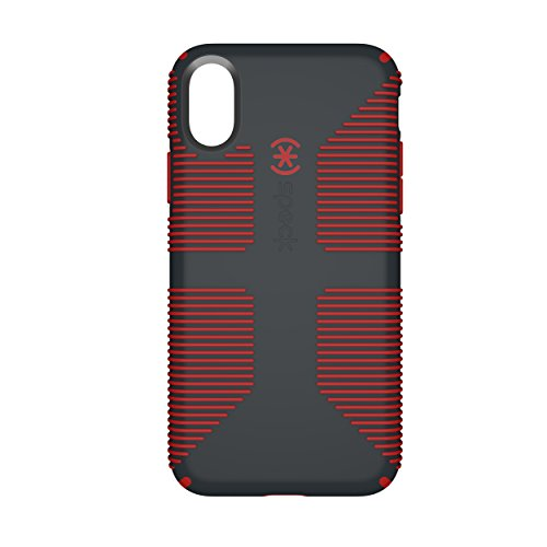 Speck Products CandyShell Grip Cell Phone Case for iPhone X - Charcoal Grey/Dark Poppy Red