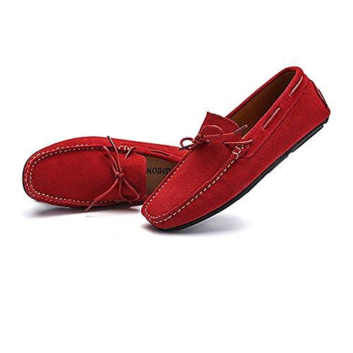 Rojo goma conducción hombres los Mocasines de hombre 2018 Sole Boat Gamuza de confort para Zapatos cuero de suela de Color 40 genuino Zapatos Mocasines Mocasines Penny EU tamaño de xzYqnUcw4