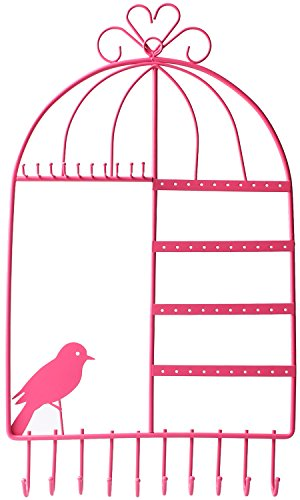 WELL-STRONG Earring Necklace Holder Birdcage Wall Mount Jewelry Organizer Hanger for Girls Pink (Jewelry Accessories Ribbon Bow)