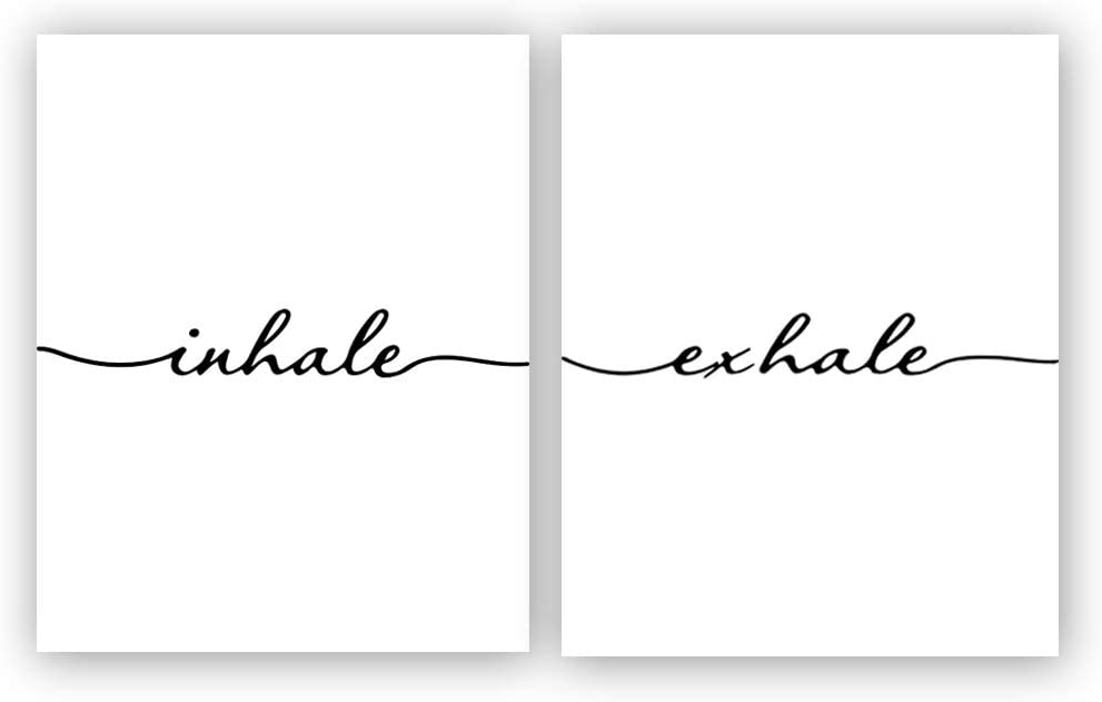 "Inhale Exhale Art Print Set of 2 (10""X8"", Meditation Art Print, Black and White Yoga Wall Art Prints,Modern Zen Print, Canvas Wall Art Poster for Bedroom Home Decor, No Frame"