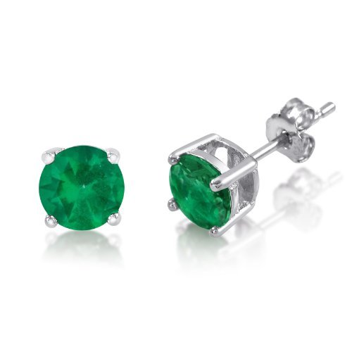 Emerald Sterling Plated - Genuine 6mm Brilliant Round Green Emerald Rhodium Plated Sterling Silver Basket Setting Stud Earrings