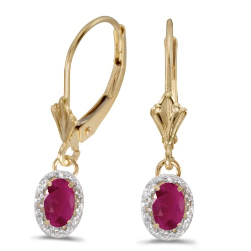 0.94 Carat (ctw) 10k Yellow Gold Oval Red Ruby and Diamond Halo Dangle Earrings with Lever Back (6 x 4 (Satin Jewel Collection Ruby)