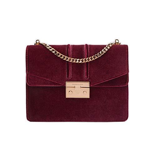 Charles & Keith Velvet Push Lock Shoulder Bag Medium Chain Handbag PU Material [Burgundy/Pink] (Burgundy)