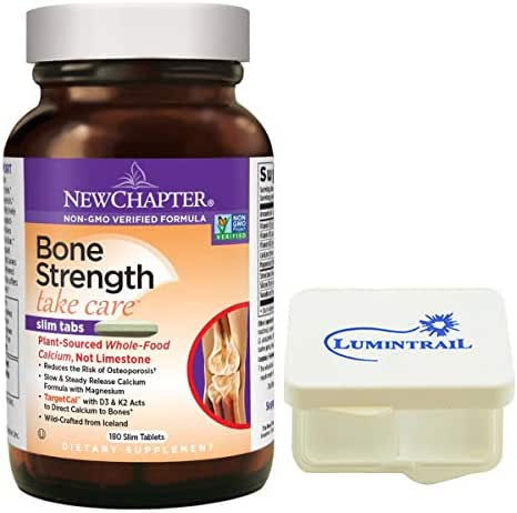New Chapter Bone Strength Calcium Supplement Clinical Strength with Vitamin K2, D3-180 Slim Tablets Bundle with Lumintrail Pill Case