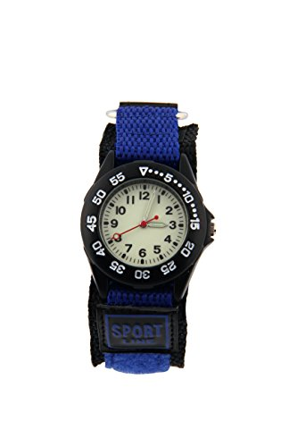 ELEOPTION Luminous Military Wrist Watch Analog Quartz Beige Dial With Fabric Canvas Band for Boys Girls Student children Unisex (Benzo Blue, (Dial Canvas)