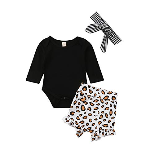 Newborn Infant Baby Girls Black Long Sleeve Romper Top Leopard Print Ruffled Shorts Pants Headband 3Pcs Outfit (0-6M, Black)