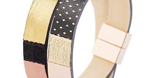 FlowersForZoé Bracelet 2 tours Gabriel en cuir, plaquage or rose, black star poudre