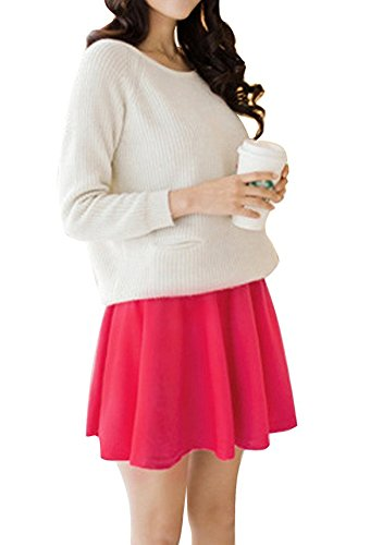 t Jupe Plisse Couleur Fille Femme Stretch Minetom Rose Mini Court Casual Pure wSqE4qnF0