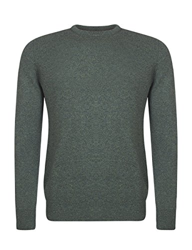Mens Lambswool Sweater (Great and British Knitwear Men's 100% Lambswool Plain Crew Neck Jumper. Made In Scotland-Fern-XX-Large)