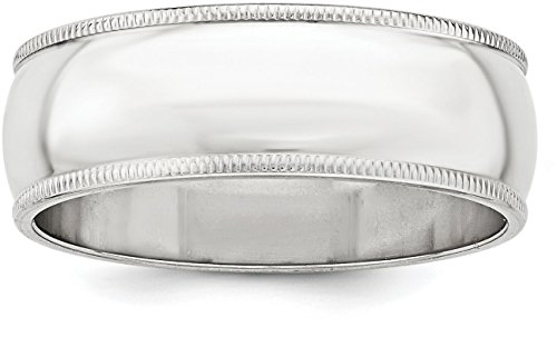 Satin Band Sterling Silver Ring (Sterling Silver 7mm Plain Half Round Classic Wedding Band with Double Milgrain Edge - Size 5.5)