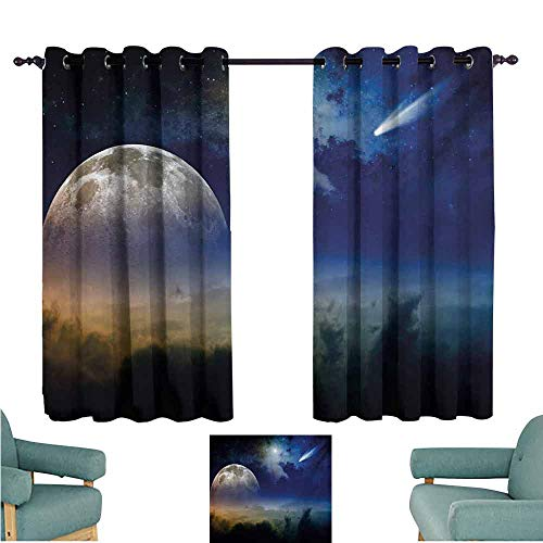 DONEECKL Kids Room Curtains Moon Full Moon Rising with Shooting Star Cloudy Night Sky Celestial Elements Thermal Insulated Tie Up Curtain W72 xL45 Navy Blue White Apricot