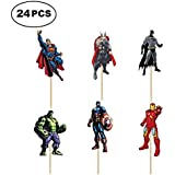 SUYEPER 24 PCS The Avengers and Superheroes Cupcake Topper Children Party Decoration Boy's Birthday Party Decoration Supplies