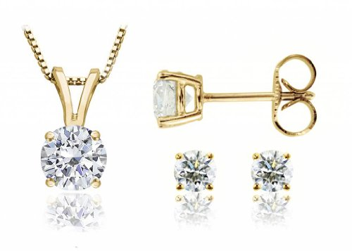 parikhs-round-diamond-pendant-stud-set-popular-quality-in-yellow-gold-060-ctw-i2-clarity