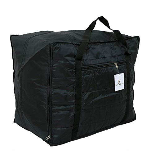 Kuber Industries Jumbo Parachute Attachi Blanket Cum Suitcase Bag, Black