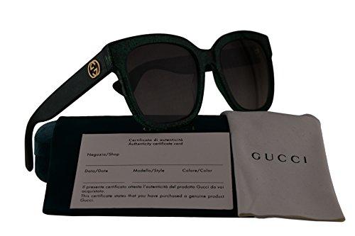 Gucci GG0034S Sunglasses Green w/Brown Gradient Lens 007 GG - Gucci Wayfarer