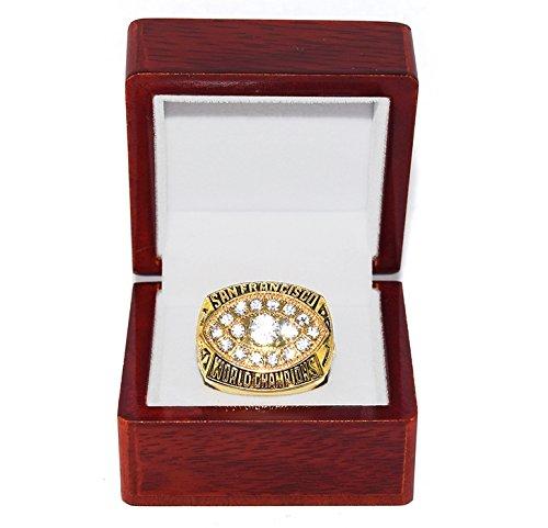 Francisco 49ers San Montana Ring (SAN FRANCISCO 49ERS (Joe Montana) 1981 SUPER BOWL XVI WORLD CHAMPIONS Vintage Rare & Collectible High-Quality Replica NFL Football Gold Championship Ring with Cherrywood Display Box)
